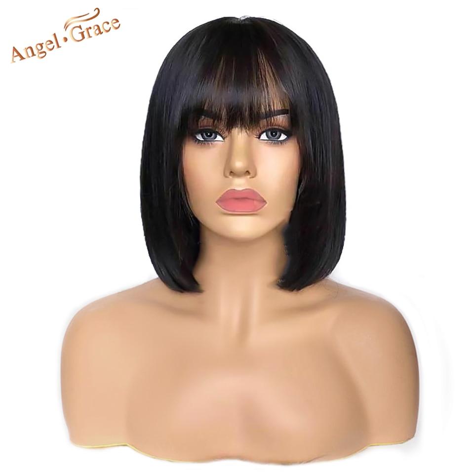 Perruque Bob Lace Front wig brésilienne Remy naturelle – Angel Grace, cheveux courts lisses, 13x4, pre-plucked, avec Baby Hair, avec frange