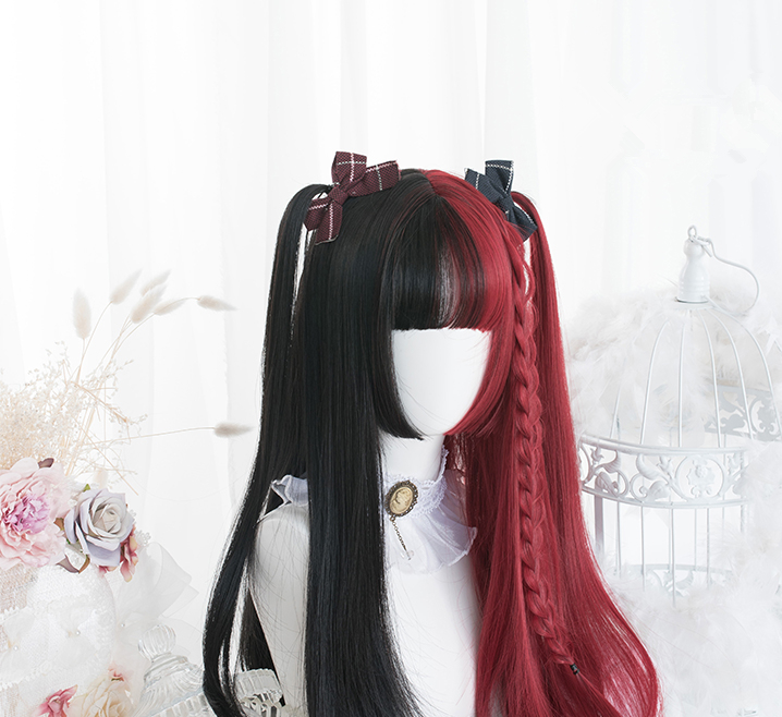 4 Type Centre-parted black and Red Blunt Bangs lolita Cosplay Wig Girl Hairpiece Straight hair Curly Hair Periwig Pigtail only