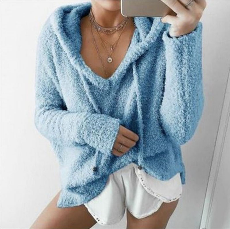 Autumn Top Women Casual Mohair Hooded Pullovers V Neck Fleece Sweater Fashion Sweet Loose Warm Winter Mohair Tops Pullover