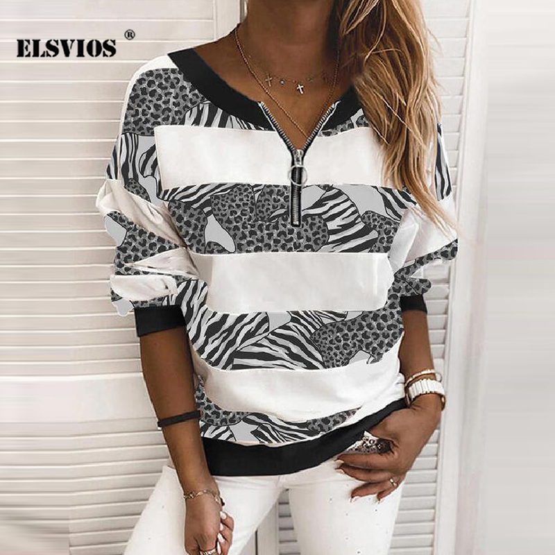 Permalink to Loose Casual Women Fall Winter V Neck Zipper Leopard Print Sweatshirt Fashion Long Sleeves Stripe Gradient Tops Elegant Pullover