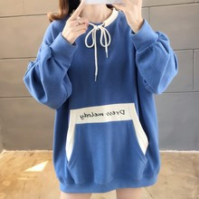 Autumn Hoody Big Pocket Hoodies Women Contrast Color Women's Sweatshirt Drawstring Sweatshirt Woman Harajuku Oversized Hoodie