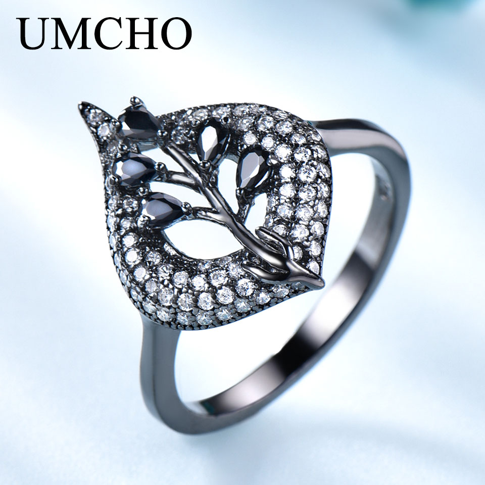 UMCHO Real S925 Sterling Silver Rings For Women Spinel Ring Black Gemstone Aquamarine Cushion  Romantic Gift Engagement Jewelry