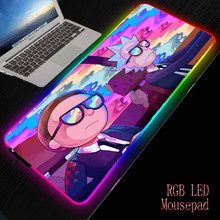XGZ Anime Morty Gaming RGB MousePad Large Locking Edge Speed Game Gamer LED Mouse Pad Soft Laptop Notebook Mat for CSGO
