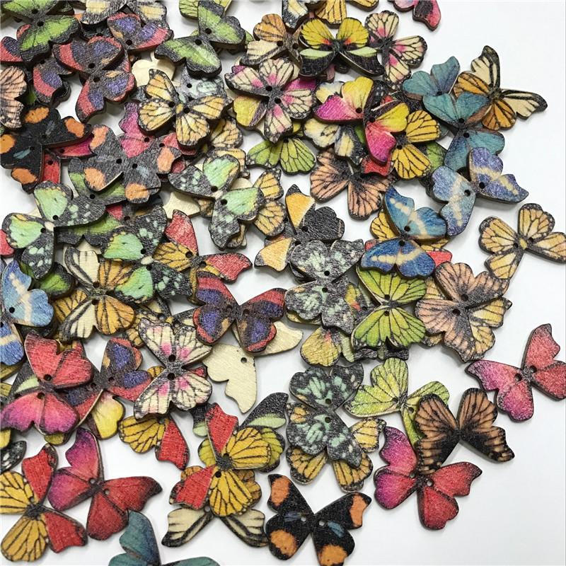 100PC Multi colored wood butterfly shape button