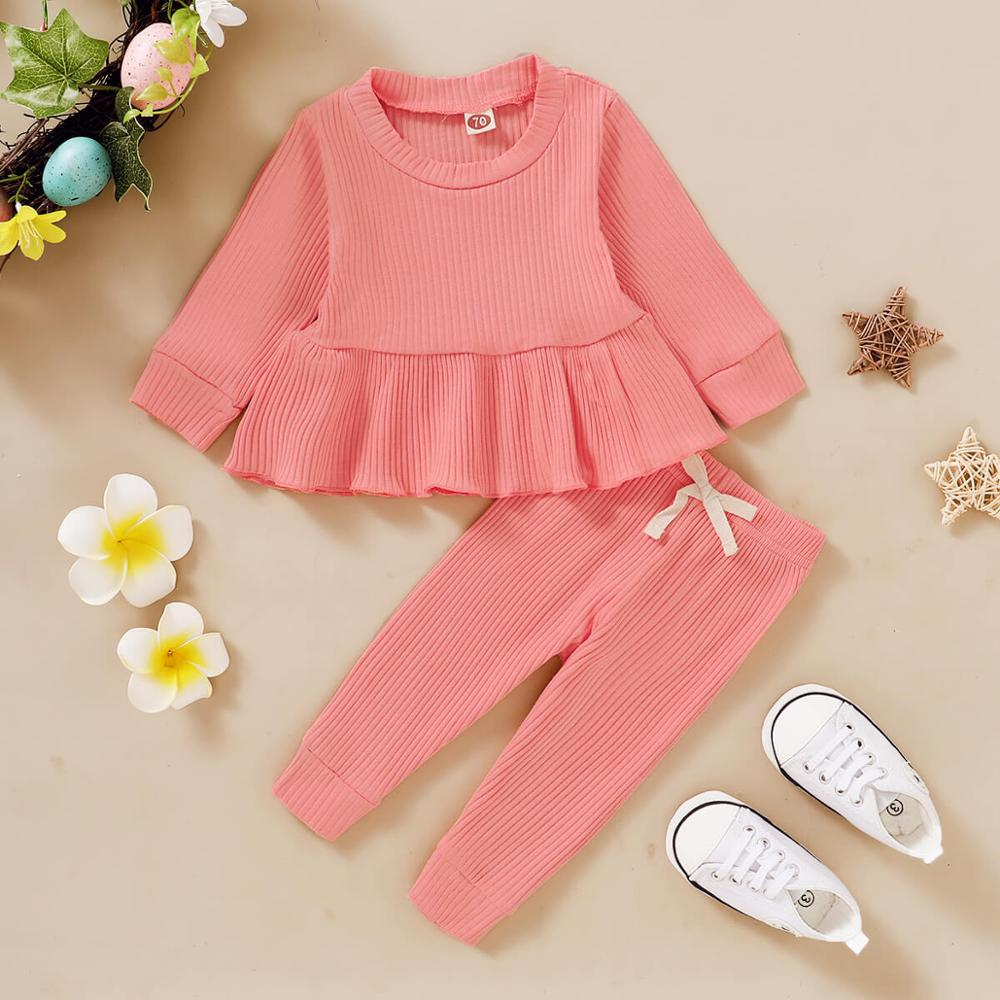 Baby Girl Fall Clothes 0-3 Months Infant Girls  Long Sleeve Outfit Solid Color Ruffled Shirt + Leggings Pants Baby Girl Pajamas 1