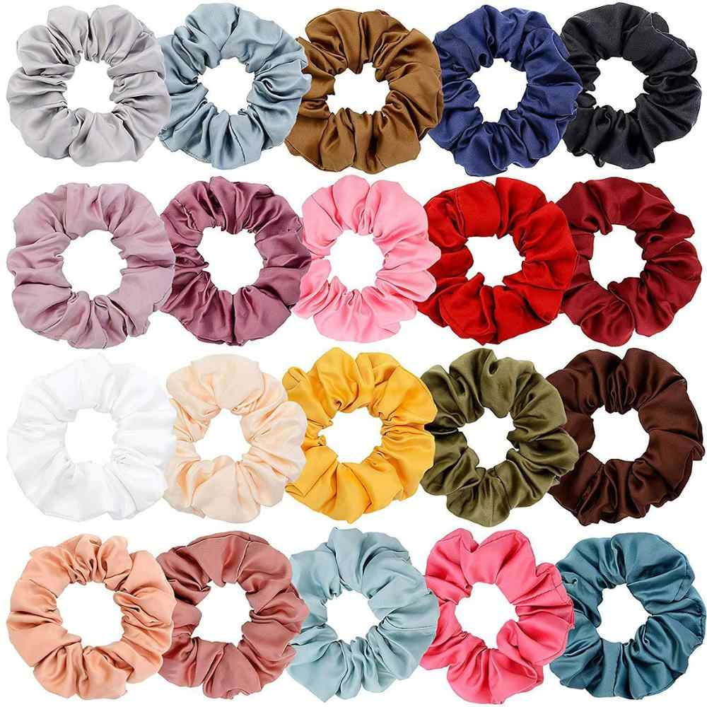 Fashion Soft Chiffon Velvet Hair Scrunchies Floral Grip Loop Holder Stretchy Hair Scrunchie for Women Hair Accessories 27 Color