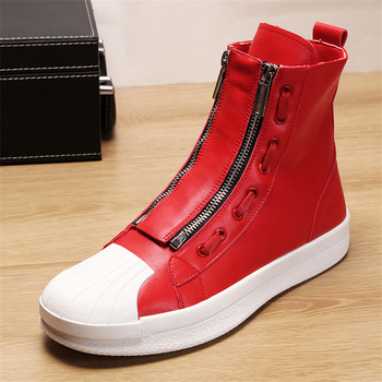 New Ankle Boots For Young Men Genuine Leather Boots Fashion Vulcanized Boots Men Quality High Top Shoes Men Sneakers Men Shoes