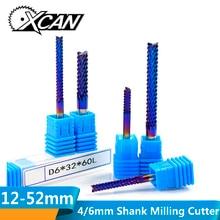 XCAN 1 шт. 4 мм/6 мм хвостовик карбида вольфрама Концевая фреза с нано синим покрытием Концевая фреза для гравировки PCB фрезерный станок