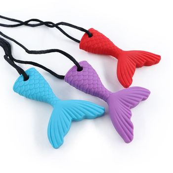 1PC Kids Boys Girls Chew Necklace Autistic Baby BPA Free Silicone Teether Autism Sensory Chewy Toys sensory chew necklace silicone dog tags pendant chewy jewelry for kids adult autism adhd