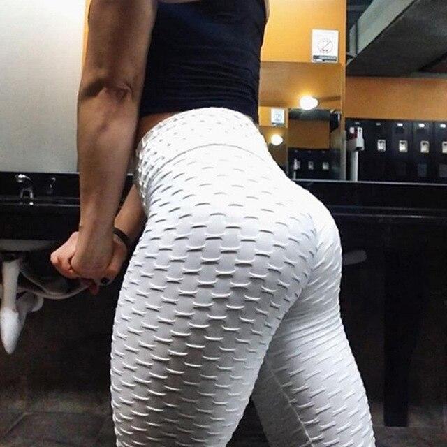 Mallas deportivas de cintura alta para mujer, mallas de realce, color liso, mallas de culturismo, pantalones de mujer 2