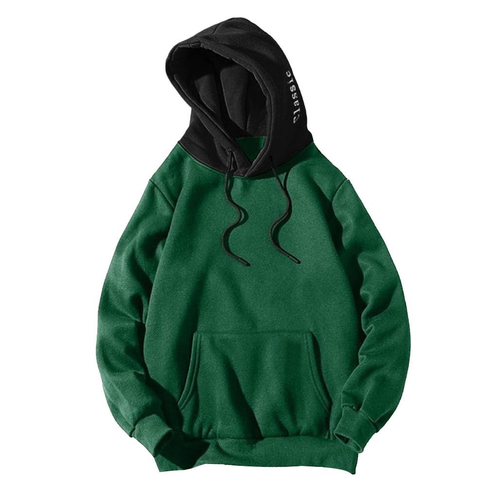 Hoodies Sweatshirts Men Long Sleeve Pocket Patchwork Pullover Strappy Hoodie Sweatshirt Blouse Top High quality drop ship #G2