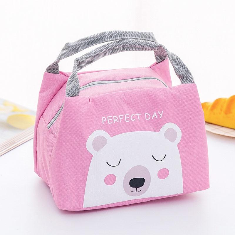 Новая сумка для хранения детского питания, бутылки с молоком, изоляционные сумки, водонепроницаемая сумка с лисой, сумка для обеда, детская теплая Термосумка для еды - Цвет: Pink