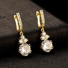 Long copper round zircon earrings color 585 rose gold wedding jewelry holiday gift fashion classic for wife and girlfriend(China)