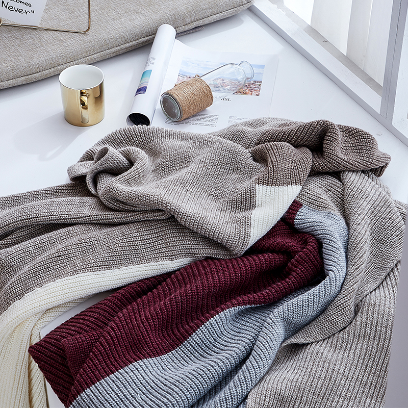 2020 Fashion Wool Knitting Blankets Knitting Casual Office Rest Blanket Online Celebrity Sofa Decor Mixed Colors Throw Blanket