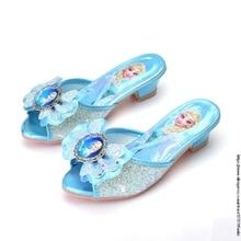 Disney Girls Summer Sandals Slipper Sequined Princesse Children High Heel Party Dress Elsa Shoes Leather Slipper For Kids Slides