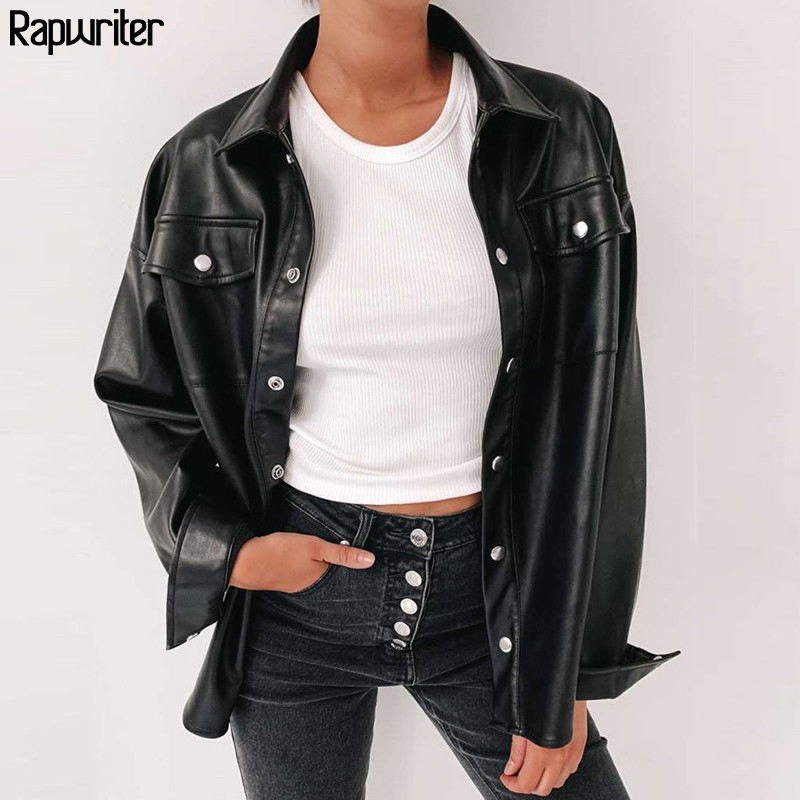 Rapwriter Women Black Leather Blouse Streetwear Metal Single Buttons Faux Pu Shirt New Autumn Winter Casual Long Sleeve Tops