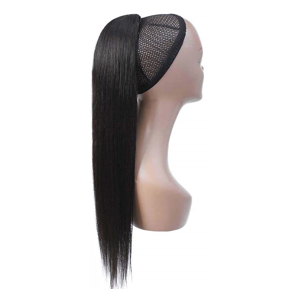 Straight Drawstring Ponytail Human Hair Brazilian Clip In Hair Extensions Remy Ombre Wrap Around Ponytail  For Women Remy Hair