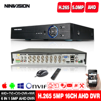 H.265 6in1 H.265 4CH 8CH 16CH DVR NVR CCTV hybrid video recorder DVR P2P View support AHD/TVI/CVI/CVBS/IP cameras ONVIF NVR