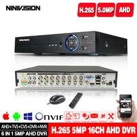 H.265 6in1 H.265 4CH 8CH 16CH DVR NVR CCTV hybrid video recorder DVR P2P View support AHD/TVI/CVI/CVBS/IP cameras ONVIF NVR