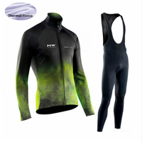 Pro Team 2019 NW Northwave Winter Thermal Fleece Cycling Clothes Men Jersey Suit Outdoor Riding Bike MTB Clothing Bib Pants Set
