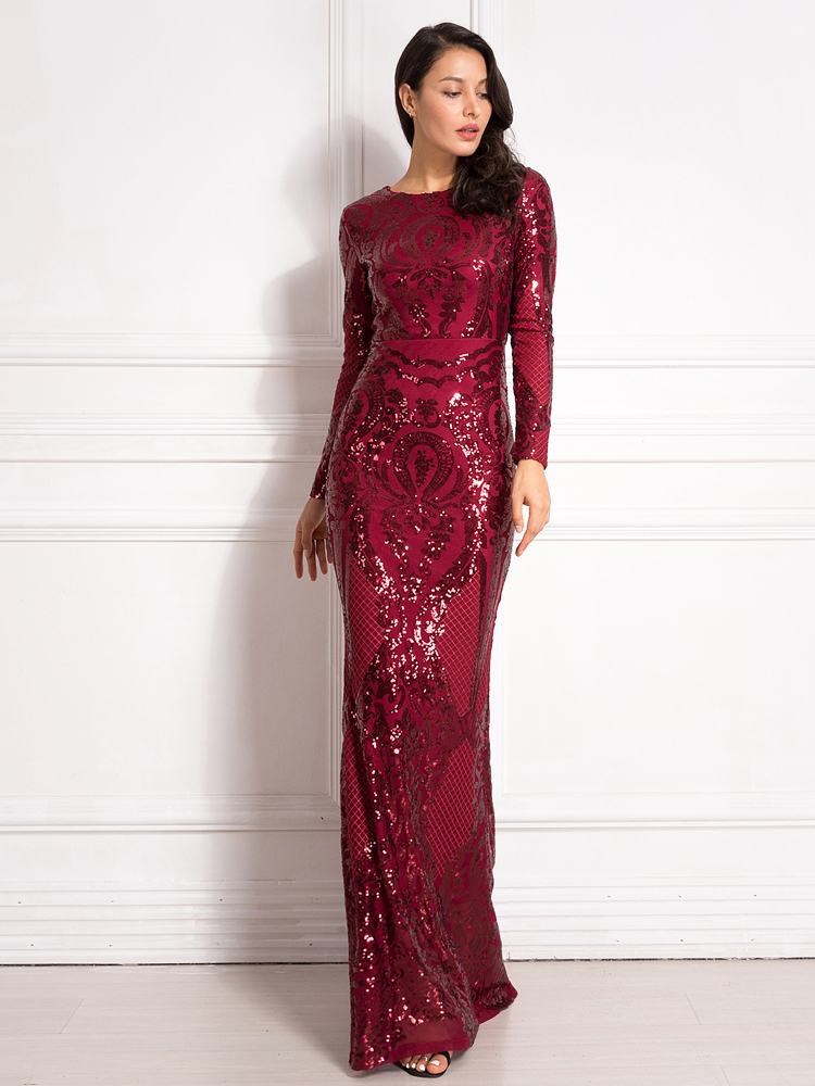 Sequined Maxi Dress Full Sleeved O Neck Stretchy Autumn Winter Long Evening Party Dress 11