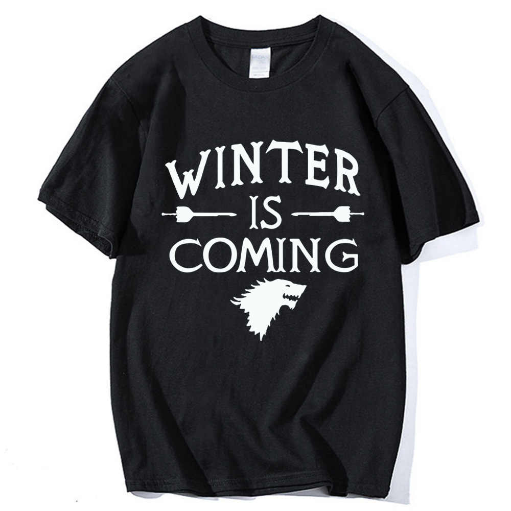Harajuku Men T Shirt Funny Winter Is Coming T-Shirts Camisetas Mens Tops 2019 Lovely Game Of Thrones O Neck Hipster Shirts Tee