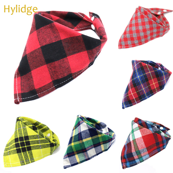 Hylidge Snap Baby Triangle Bandana Bibs Saliva Towel Scottish Fashion Plaid Baby Cotton Bibs Baby Boy Scarf Feeding Burp Cloths