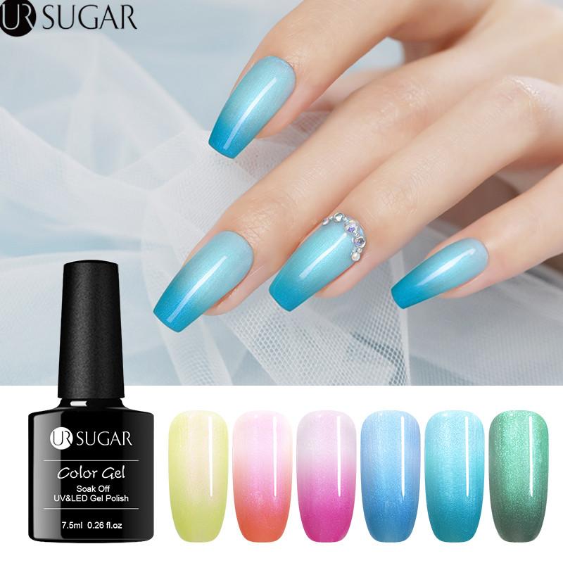 UR SUGAR 7.5ml Thermal Pearl Shell Gel Nail Polish Temperature Color Changing UV Gel Varnish Soak Off Nail Art Gel varnish DIY