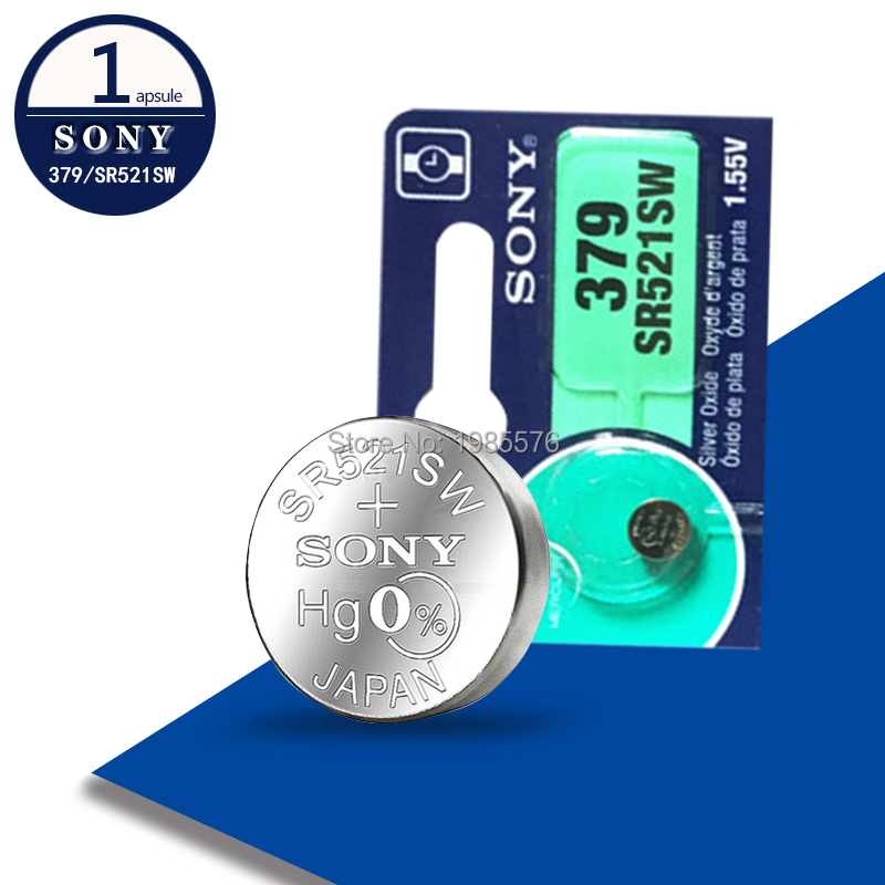 1PCS FOR SONY Watch Battery 1.55V 379 SR521SW D379 SR63 V379 AG0 Silver oxide Button Coin Cell Batteries MADE IN JAPAN
