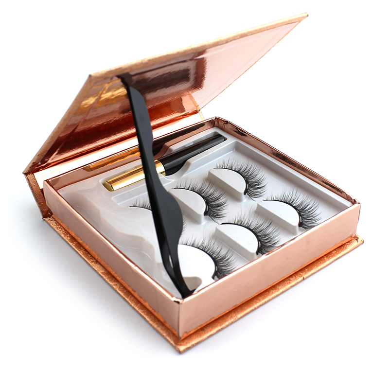 3 pairs 3d eyelashes magnetic Eyeliner& Magnetic False Eyelashes & Tweezer Set Waterproof Long Lasting Eyelash Extension