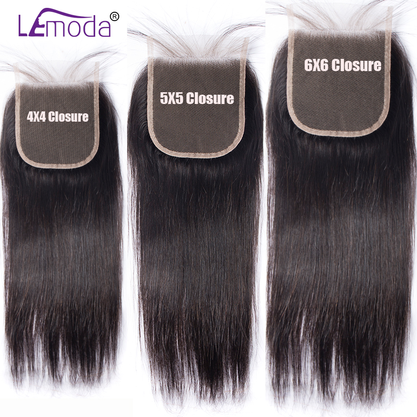 Lemoda Lace Closure Hair Straight 5X5 6X6 4X4 Natural-Black with Baby Swiss High-Ratio title=