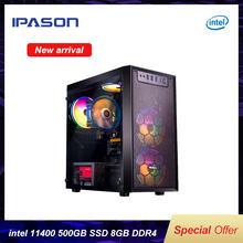 IPASON – PC fixe de jeu E1, Intel I5, 11e génération, 11400 6 cœurs, 12 threads, fréquence 4.4GHz, 8 go de RAM, SSD 500 go