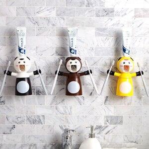 С принтом в виде персонажей из мультфильма, детские наборы Автоматический Диспенсер зубной пасты, для зубной щетки держатель для ванной ком...