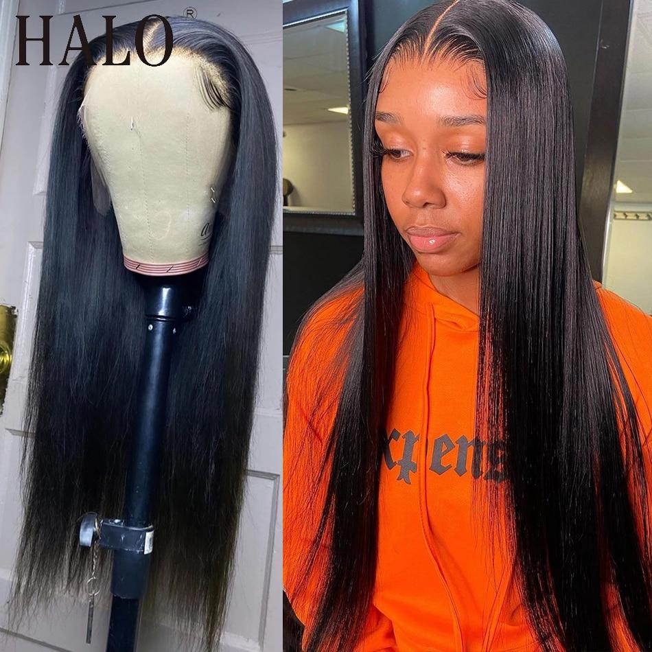 26 28 30 40 дюймов бразильские Прямые кружевные передние человеческие волосы парики предварительно выщипанные отбеленные узлы безклеевые фрон...