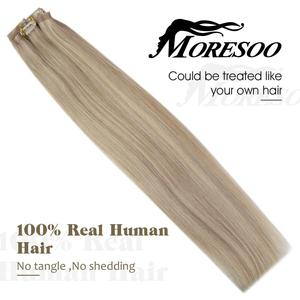 Image 4 - Moresoo Seamless PU Clip in Hair Extensions 16 24 inch Human Hair Straight Machine Remy Brazilian 7PC 100G Natural Invisible