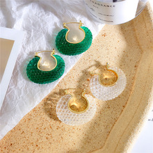 Summer Cool Green Transparent Mesh Temperament Earrings Acrylic Crystal Hoop