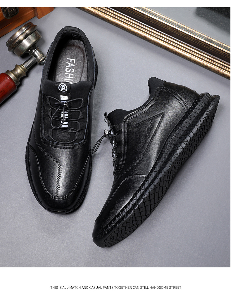 Misalwa  New Increased Contact Men Leather Casual Shoes Thick Sole 5/7 CM Height Increasing Elevator Shoes Outdoor Sneakers