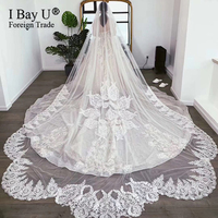 Luxury Lace Long Train Cathedral Wedding Bridal veil