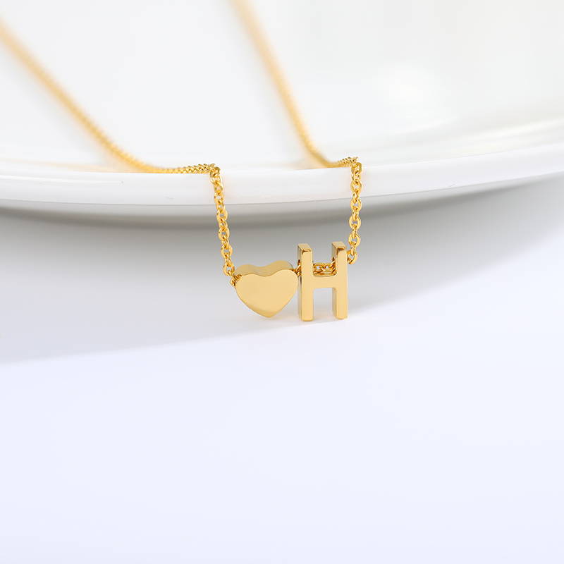 Stainless Steel Chian Choker Heart Letter Gold Chain Necklace Women Jewelry Accessories Neckless Best Friends Pendant Necklaces