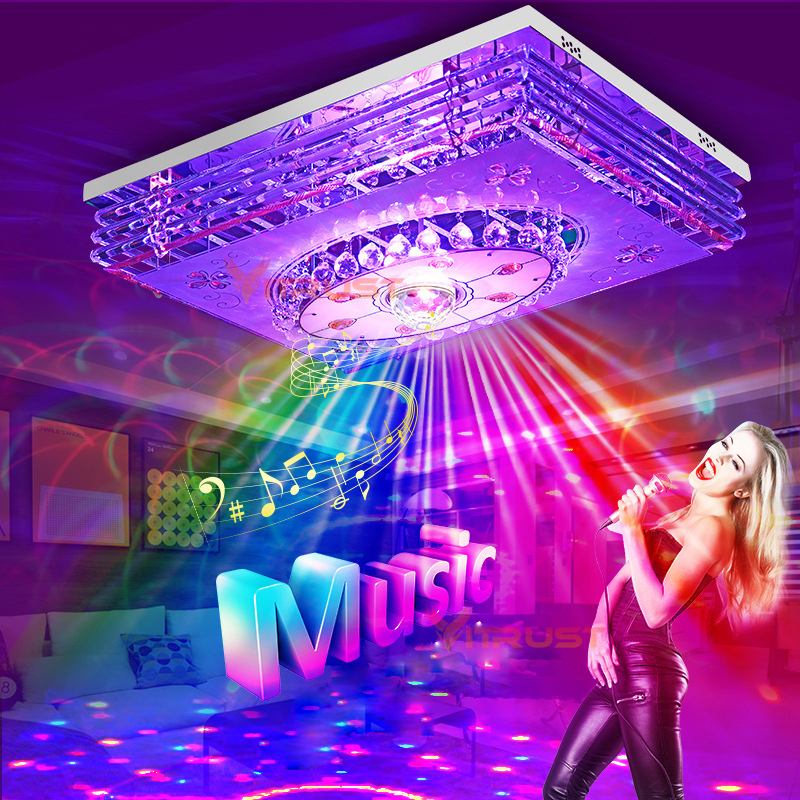 Lámpara LED de techo de cristal moderna lámparas RGB regulable 220V APP Bluetooth y altavoz de música lámpara inteligente colorida de la sala de estar
