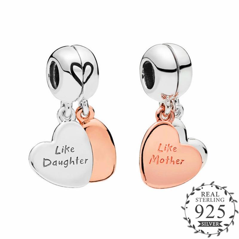 PANDULASO Mother & Daughter Love Heart Dangle Charm Fits Pandora Bracelets 925 Sterling Silver DIY Pendant Bead Rose Jewelry