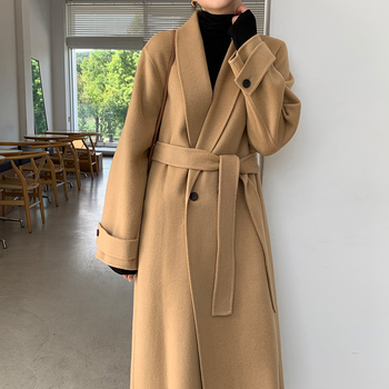 Autumn And Winter Womens Retro Temperament Chic Simple Belt Woolen Long Coat