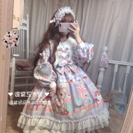 Фото японское платье в стиле лолиты с круглым вырезом и кружевным цена