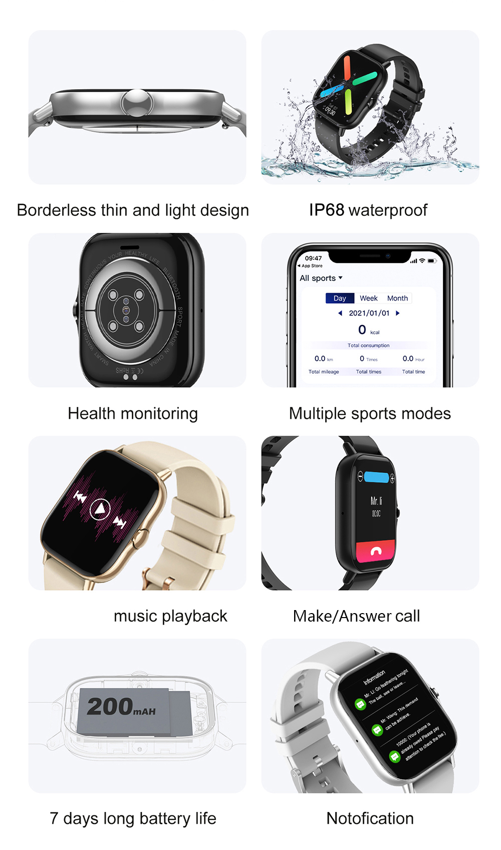 H7cf233959df6419481f5cc7ecc0f0b10H For Xiaomi IOS Apple Phone 1.78inch Smart Watch Android Men IP68 Waterproof Full Touch Woman Smartwatch Women 2021 Answer Call