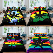 Colourful Maple Leaf Bedding Set 2/3 Pcs Duvet Cover Set Home Textile Single/Twin/Double/Full/Queen/UK King/AU King/US King Size