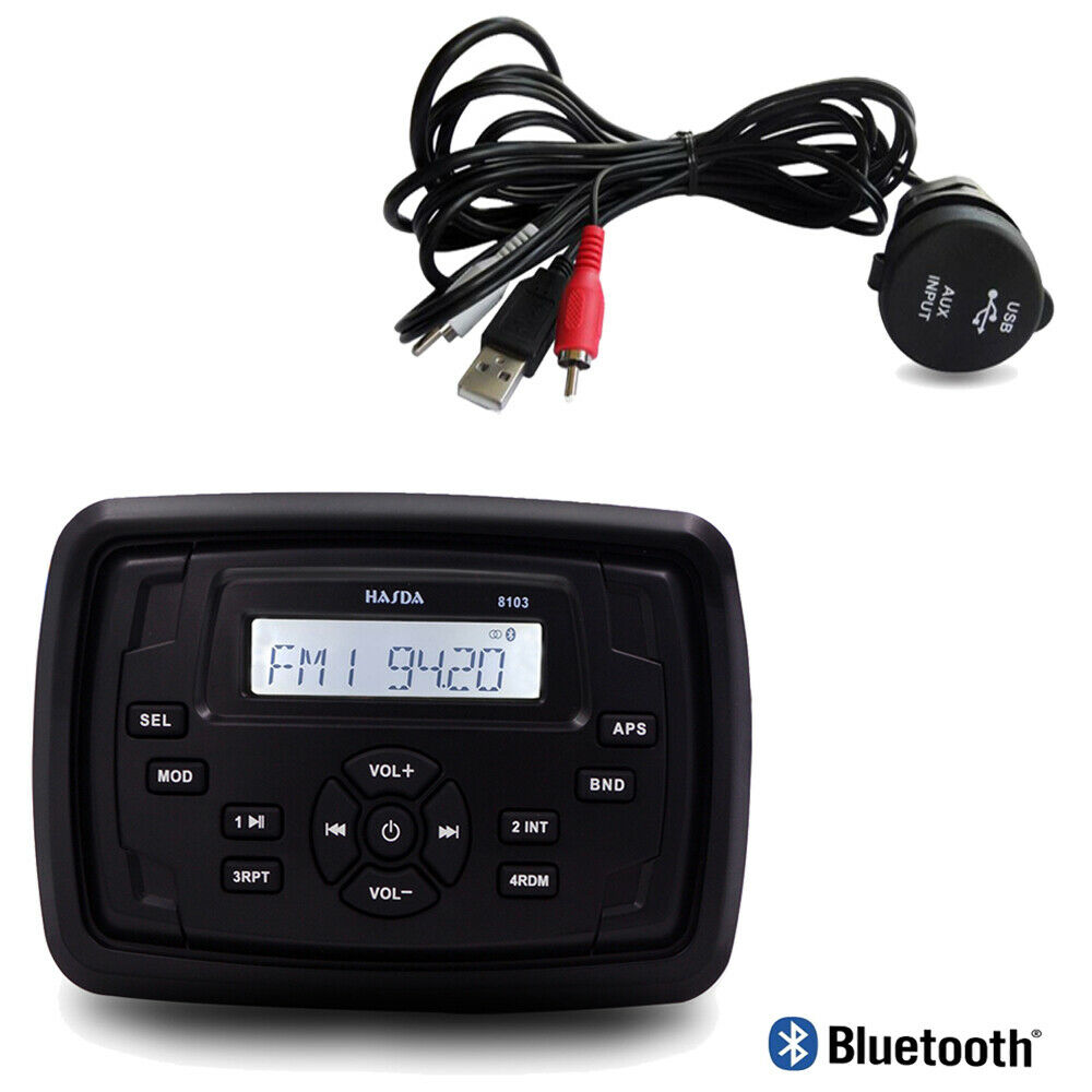 Marine Boat Yacht Radio Square Unit Waterproof Bluetooth Stereo Car Mp3 Player