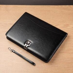 Image 3 - A4 Kıdemli PU deri padfolio İş Belge yöneticisi çantası portföy dosya klasörü ile şifreli kilit hesap makinesi fermuar klip 1321