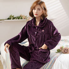 Autumn winter Flannel Pajamas Set Women Pyjamas Homewear Animal Sleepwear Thick Home Suit