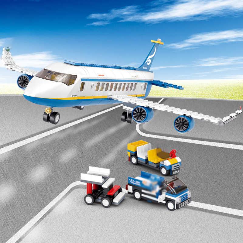 463 Pcs Bandara Blok Bangunan Pesawat Udara Penumpang Blok Avitation Anak Mainan Favorit Perakitan DIY Bata Mainan untuk Anak Ulang Tahun