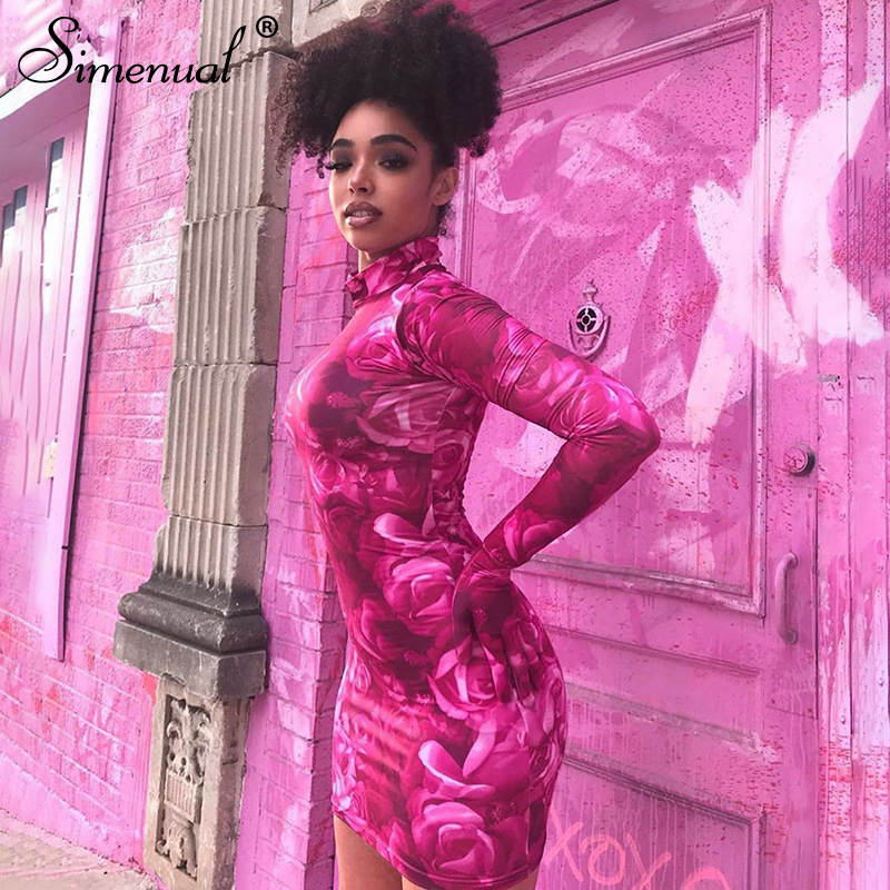 Simenual Floral Print Sexy Women Mini Dresses With Gloves Long Sleeve Party Clubwear Pink Fashion Bodycon Dress 2020 Skinny Slim